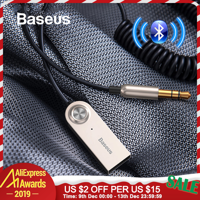 Baseus USB Bluetooth Adapter Aux Bluetooth V5.0 Receiver Audio Transmitter Dongle Cable for Car 3.5mm Jack Car Adapter Cable