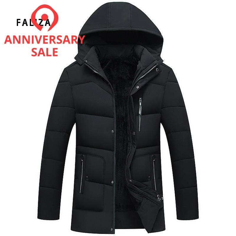 FALIZA 2019 New Winter Jacket Windproof Hood Men's Jacket Men Warm Fashion Down & Parkas Cotton-padded Jackets Plus Size MY21