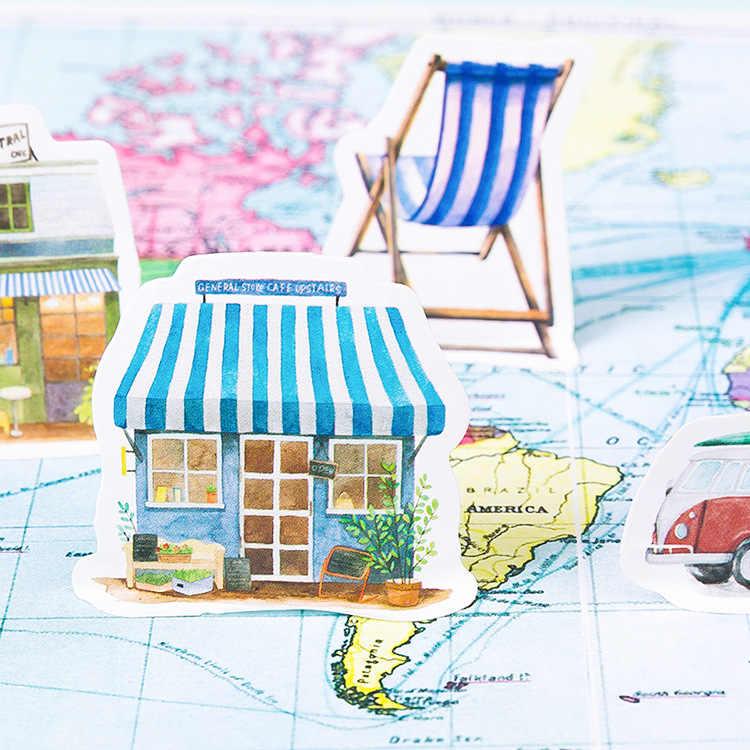 45 pçs/caixa vida turismo papelaria adesivo diário kawaii artesanal adesivo de papel floco japão adesivo scrapbooking papelaria