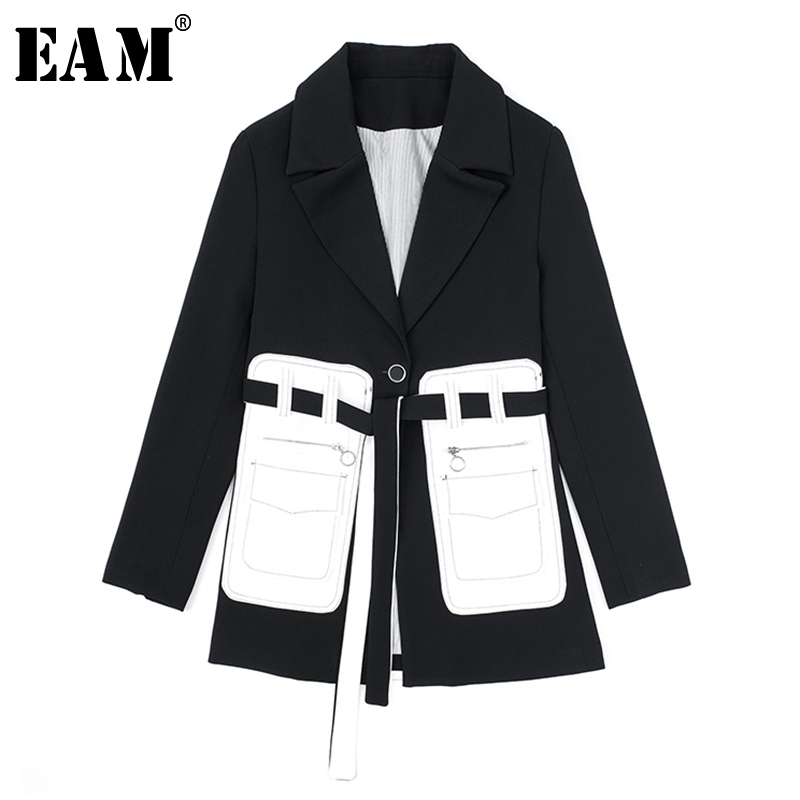 [EAM]  Women Black Pocket Split Temperament Blazer New Lapel Long Sleeve Loose Fit  Jacket Fashion Spring Autumn 2020 1S394