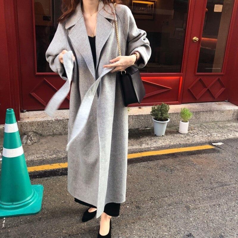 19 Winter Oversize Long Trench Coat Women Cashmere Coat Korean Lady Windbreaker Outwear Streetwear 26