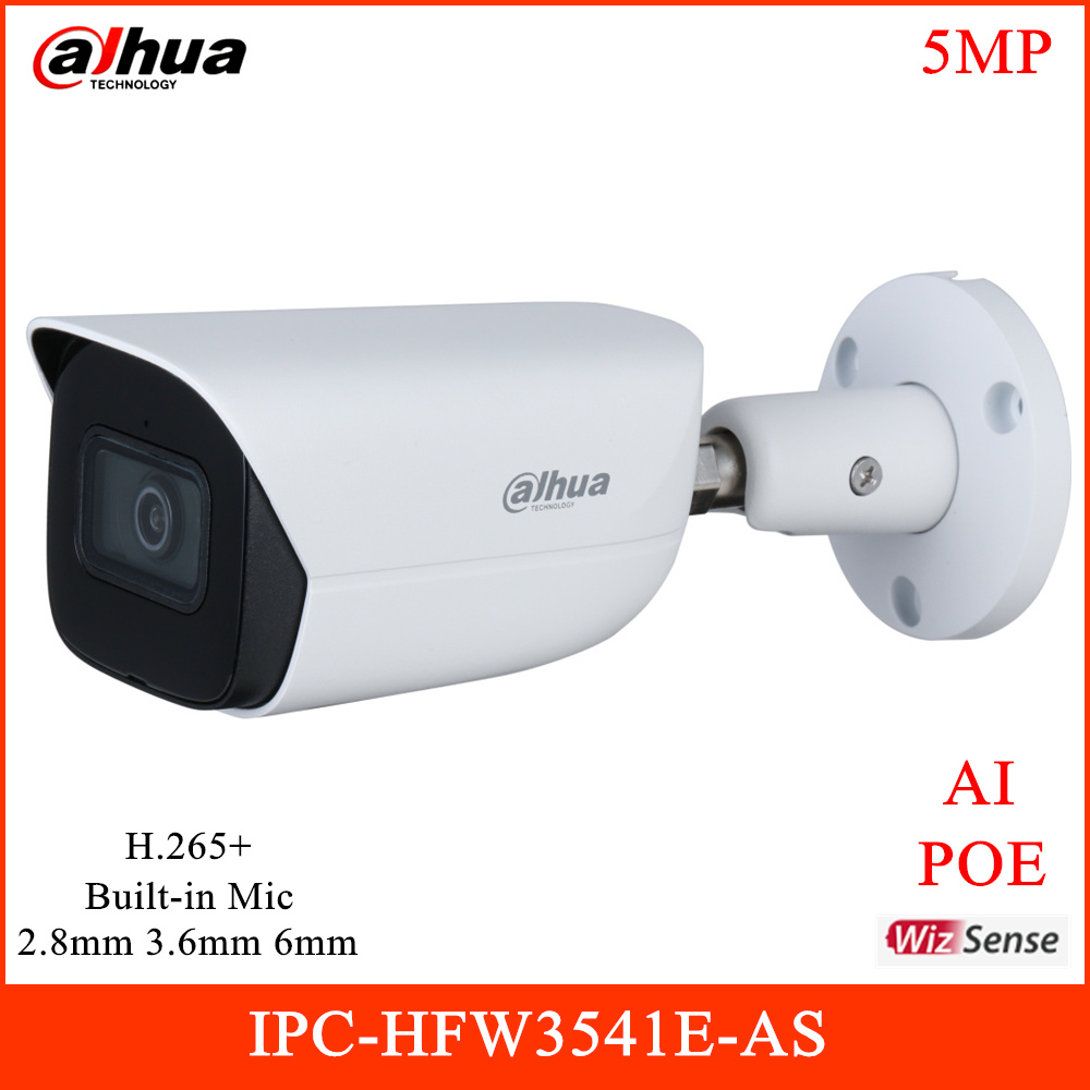New Dahua AI 5MP POE IP Camera IR 50m H.265+ Built-in Mic Support Onvif and Mobile phone Home Security Camera IPC-HFW3541E-AS