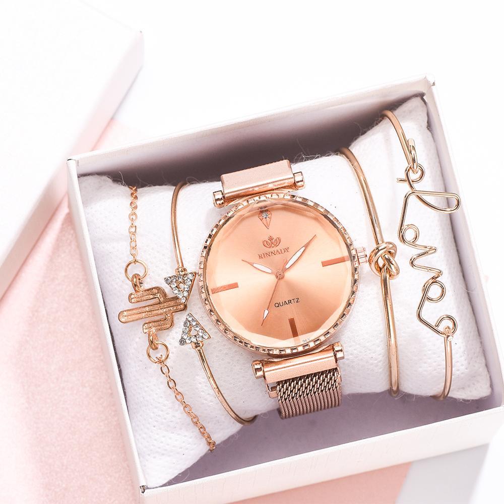 Fashion Style 5pcs/set Women Watches Rose Gold Magnetic Ladies Watch Dress Simple Watch And Bracelet Set Womens Zegarek Damski