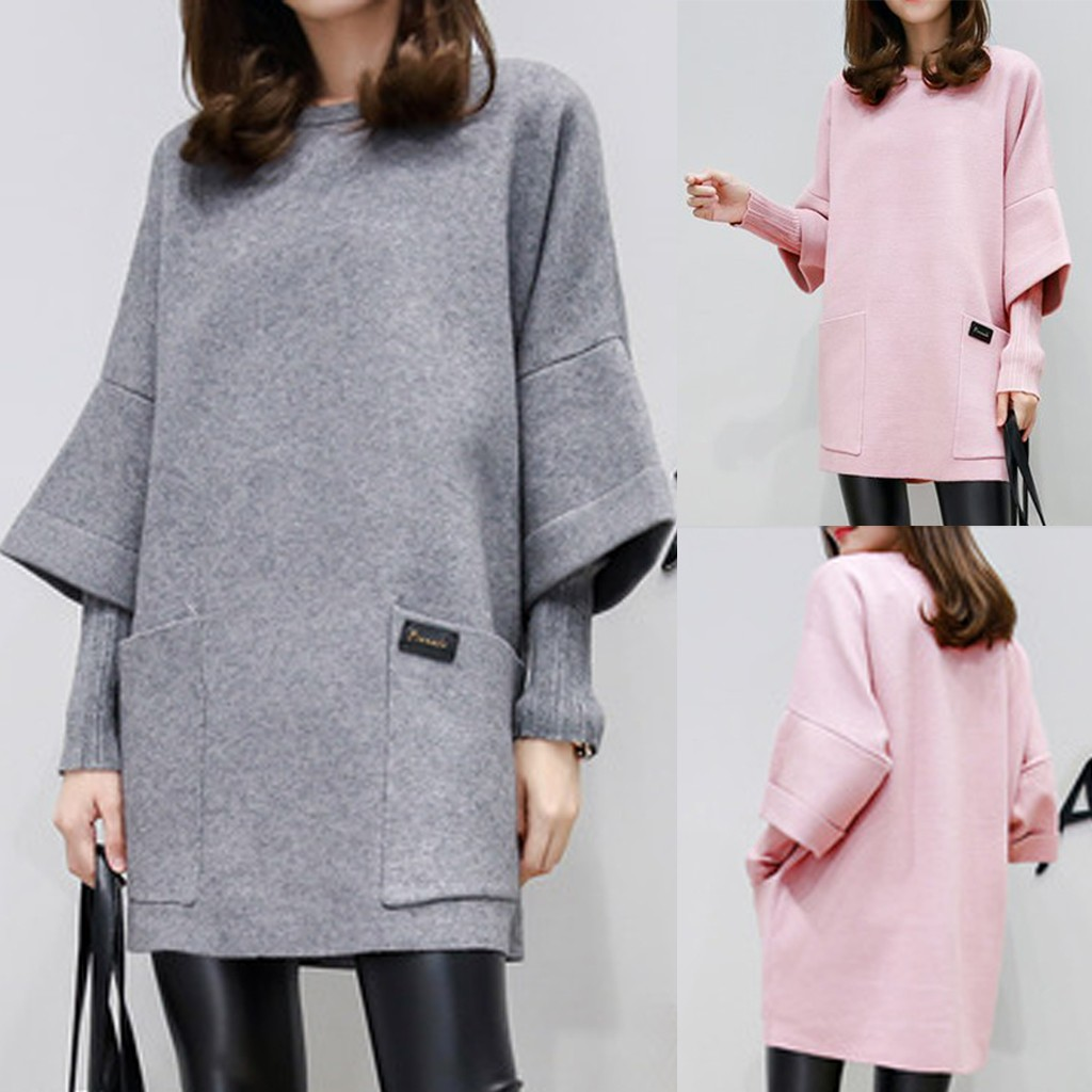 Women Autumn Fashion O-Neck Fake Two-Piece Long Sleeve Pocket Pure Color Dress