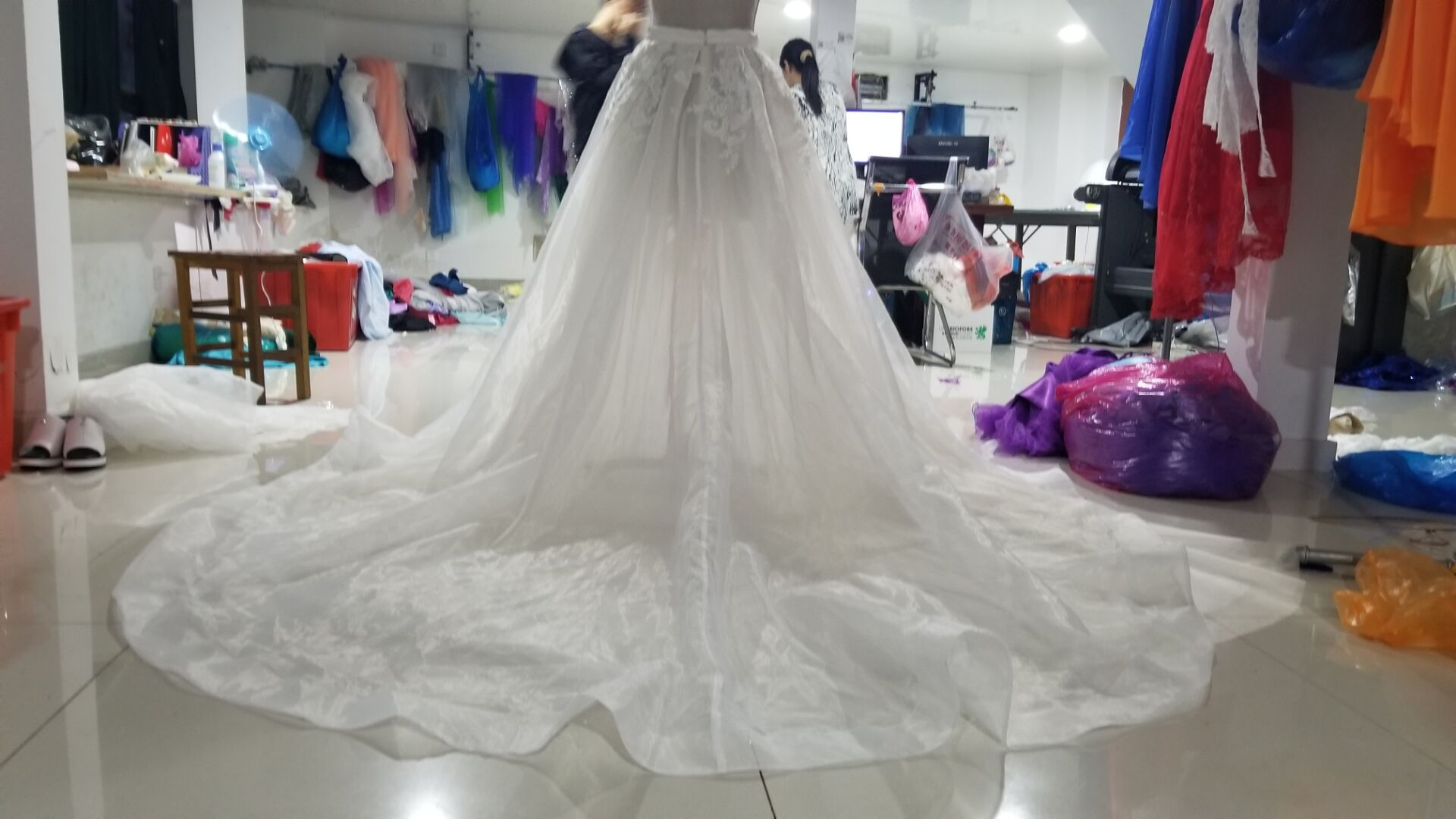 Organza Removable Skirt Detachable Train Wedding Train Appliqued Train Detachable Tulle Dress