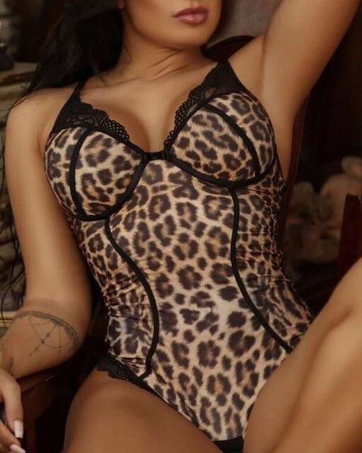 Sexy Black V Leopard Print Lace Mesh Bodysuit Sleeveless Halter Strap See-Through Shoulder Strap Ladies Jumpsuit Body 2020 New 2