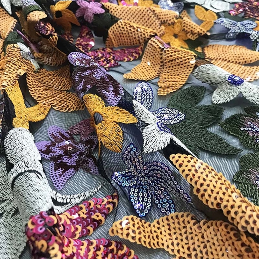 Купить с кэшбэком Anna fashion african sequins lace fabric 2020 high quality embroidered nigerian net laces flowers 5 yards/pcs for garment sewing