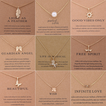 New Trendy Alloy Cute Elegant Sun Love Star Leaves Clover Unicorn Luck Pendant Necklaces for Women Fashion Accessories Jewelry 1