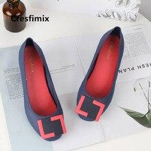 Cresfimix Zapatos De Mujer Women Cute Sweet Navy Blue Slip on Flat