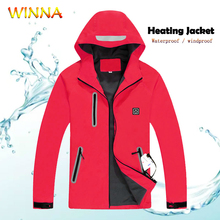 Womens Heated Jackets Slim Fit Light Weight Winter Warm Heating Coat Thermal Windbreak Waterproof Jacket Temperature Adjustable