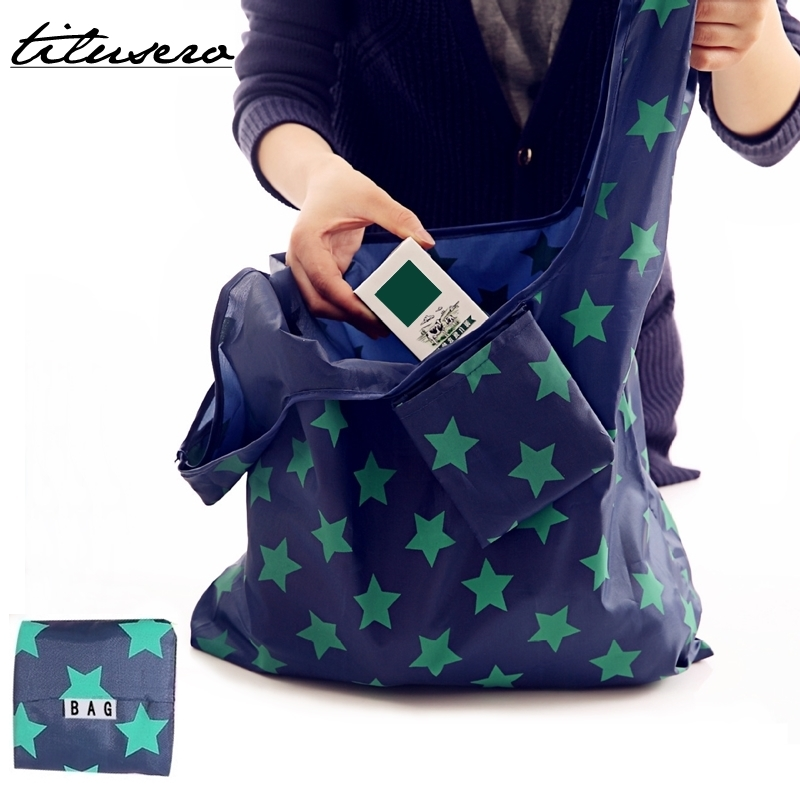 Foldable Shopping Bag Tote Folding Pouch Handbags Convenient Large-capacity Storage Bags F096