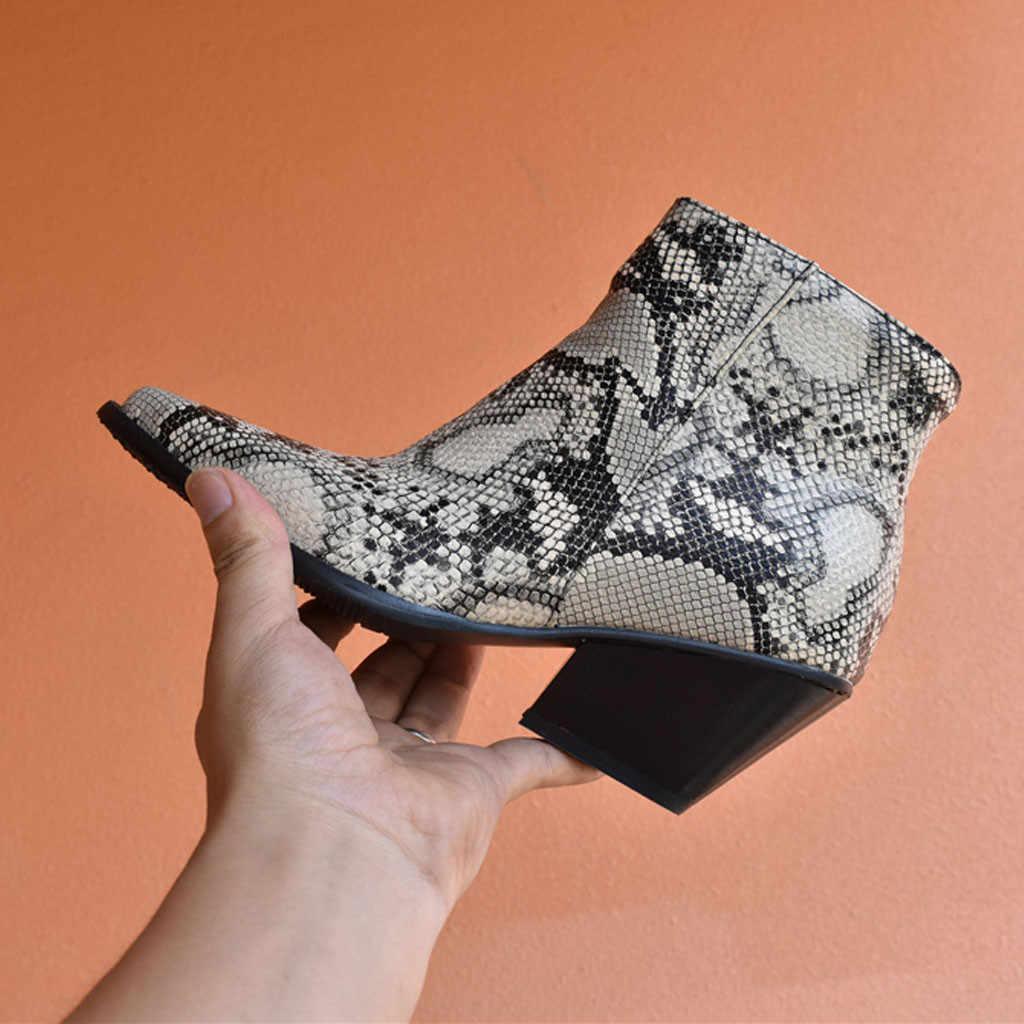 YOUYEDIAN Snake Vrouwen Enkellaarsjes Dikke Hak Grote Omvang Schoenen Ridder Laarzen Toevallige Korte Laarsjes chaussure femme 7 #3.5a1