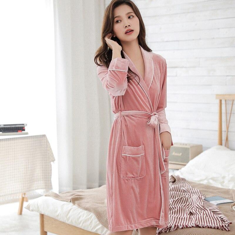 2019 velours soie Robe femme automne et hiver épais velours mousseline de soie à manches longues Robe soie grande taille femmes Robe de bain