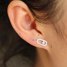 Mimimaliste – bijoux mignons en argent Sterling 925 authentique, 1 pièce, boucles d'oreilles en pierre cz no Move pour femmes, petite boucle d'oreille délicate en cristal