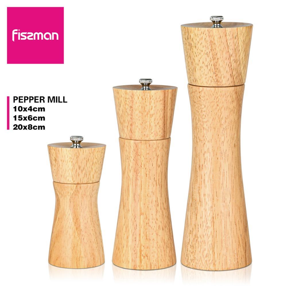 Moulin à sel en bois de caoutchouc Fissman avec des outils de cuisine de broyeur en céramique réglables forts