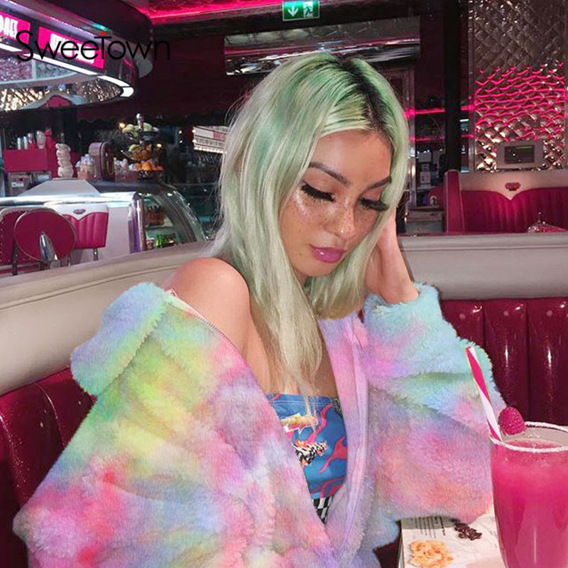 Sweetown Colorful Gradient Print Korean Long Faux Fur Coat Warm Winter Coat Womens Plus Size Fashions Rabbit Fur Teddy Coats