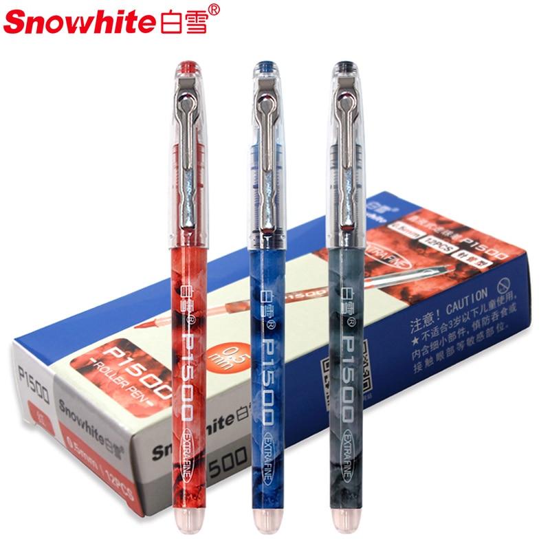 Snowhite Straight Liquid Ball Pointer Quick drying gel pen 6/12pcs  Examination pen student pen P1500 needle color signature 0.5|Gel Pens| |  - title=