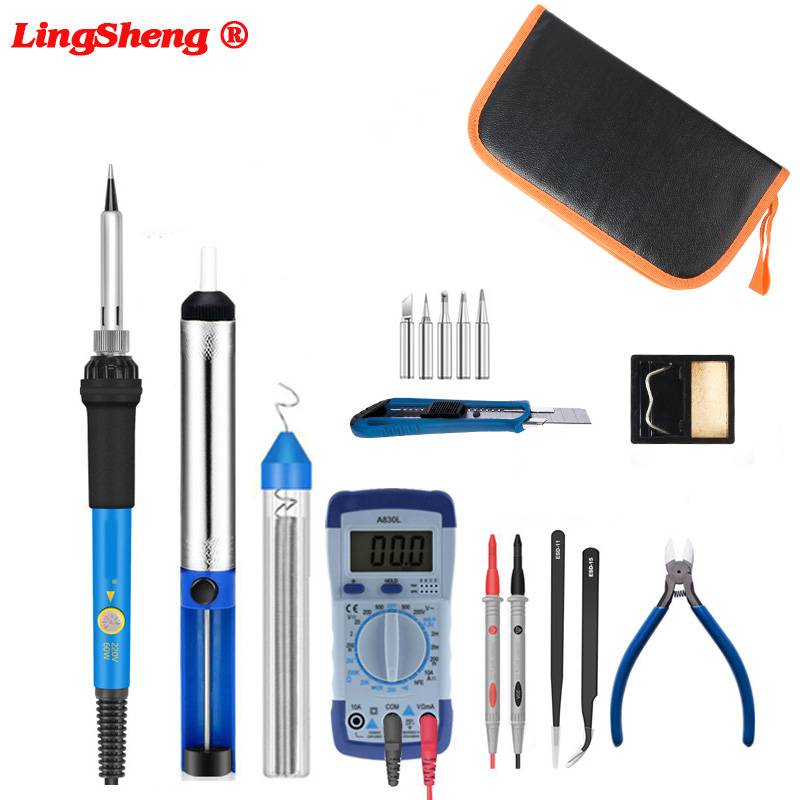 Electric Soldering Iron Set Adjustable Temperature Solder Iron 60W Rework Station Heat Pencil Welding Repair Welding Tools
