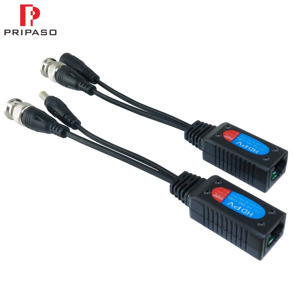 Pripaso 1 Pair 8MP HD Video Balun Cable CCTV Coax BNC Video Power Transceiver To RJ45 Connector Support HDCVI TVI AHD Camera