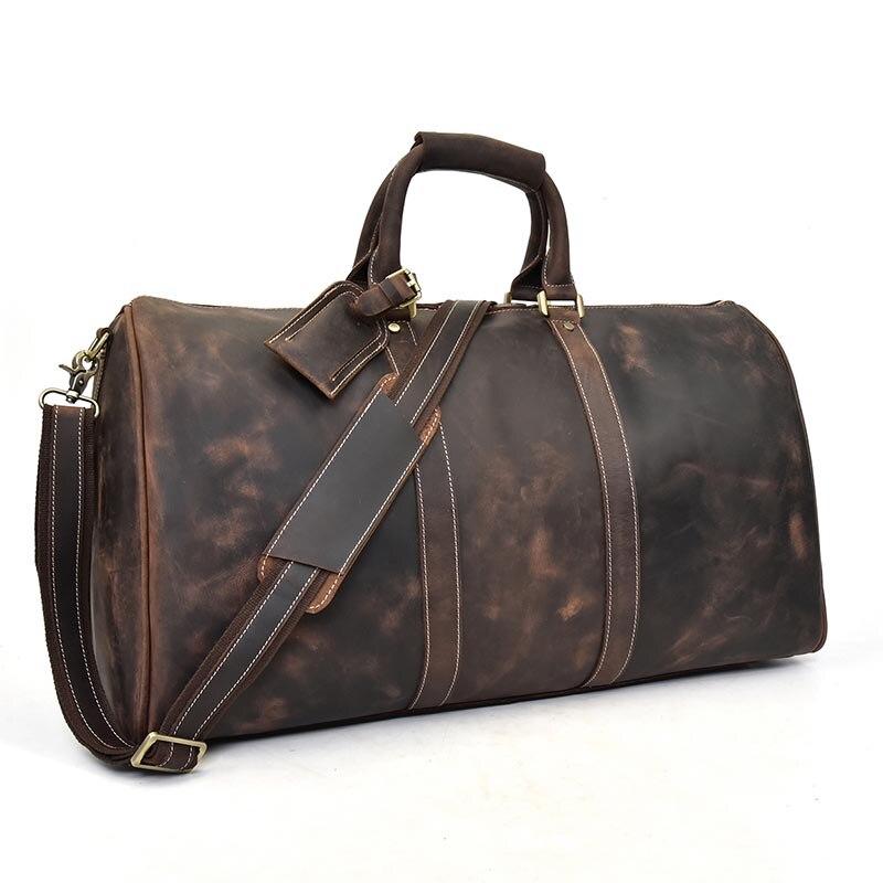 Extra large crazy horse genuine leather travel bag men big capacity Real leather shoulder weekend luggage bag handbag for man