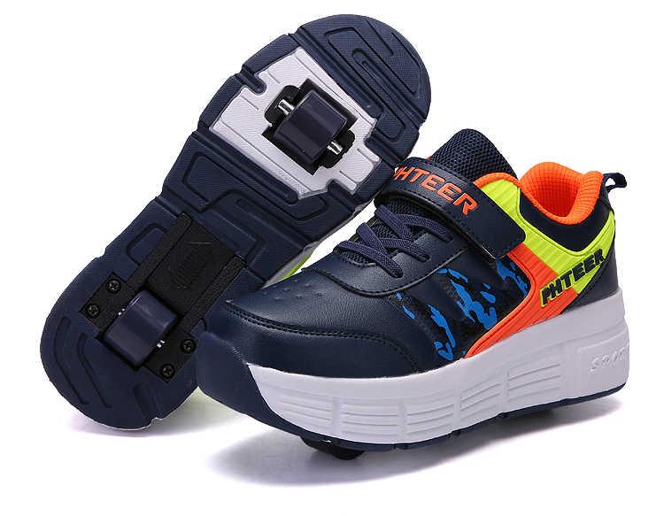 EUR 31-42 Kinderen Junior Roller Skate Schoenen Kids Sneakers Met Een/Twee Heelies Jongens Meisjes Wielen Schoenen volwassen Toevallige Jongens Schoenen