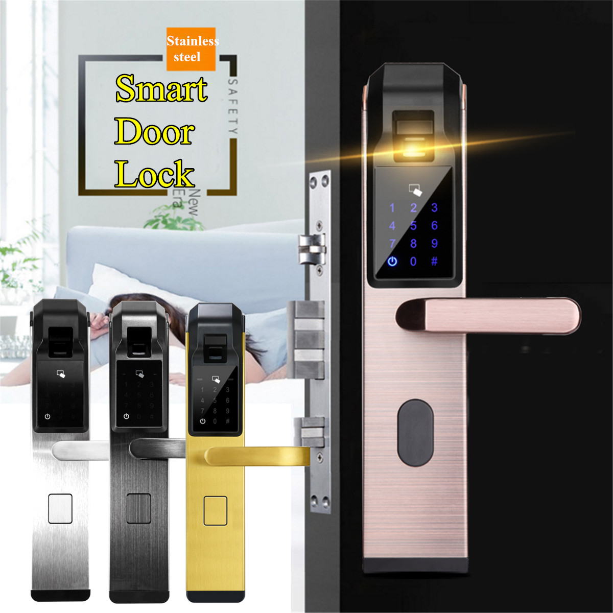 Electric 4 Ways Smart Door Lock Fingerprint Password Access Anti theft Lock Set House Apartment Security Access Control System|Electric Lock| |  - title=