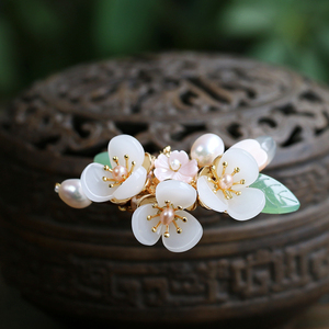Image 2 - Copper Freshwater Pearl Hair Pins Gem Stone Hair Pin Flower Chinese Hairpin Wedding Hair Accessories Pince Cheveux WIGO1359