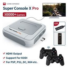 Super console x pro mini/tv consolas de jogos de vídeo wifi saída hd para jogos psp/n64/dc/ps1 para xbox gamepad embutido 30000 + jogos