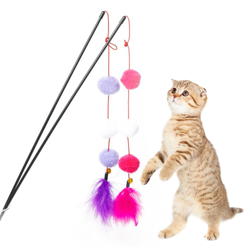 High Quality Fun Cat Sticks Pet Cat Favorite Toys with Colored Feather Stick US