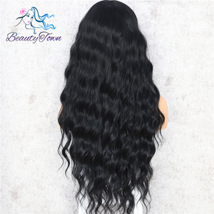 Image 4 - BeautyTown Black Color Body Wavy Silk Hair Halloween Holiday Women Wedding Party Daily Makeup Present Synthetic Lace Wigs
