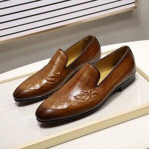 Image 2 - FELIX CHU Streetแฟชั่นผู้ชายLoaferลื่นบนหนังแท้สีน้ำตาลCasualธุรกิจรองเท้าแต่งงานรองเท้าMens