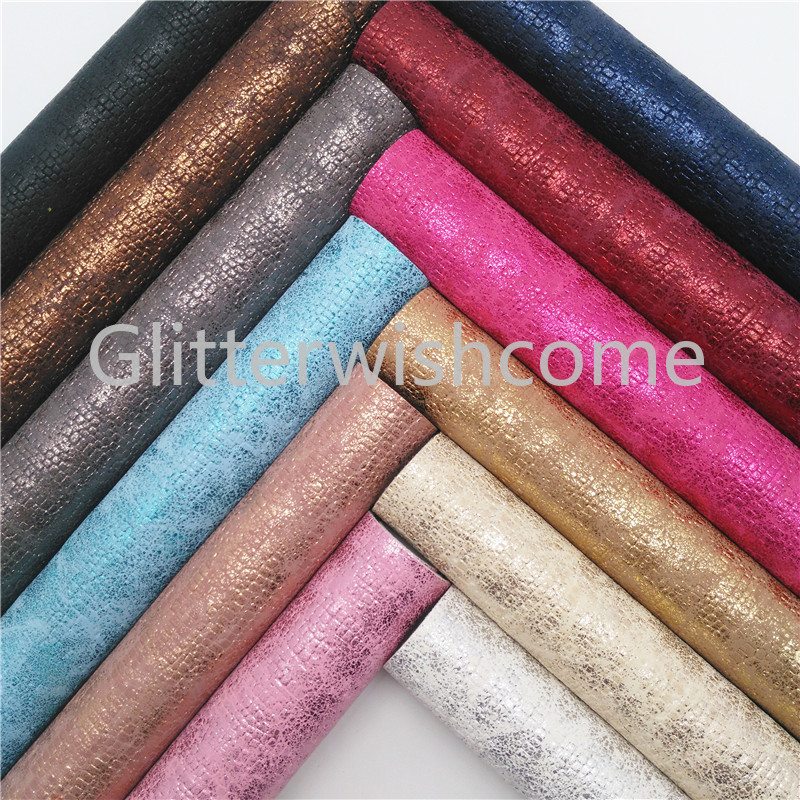 Glitterwishcome 21X29CM A4 Size Metallic Snake Faux Leather Fabric, Synthetic Leather Fabric Sheets, PU Leather For Bows, GM493A