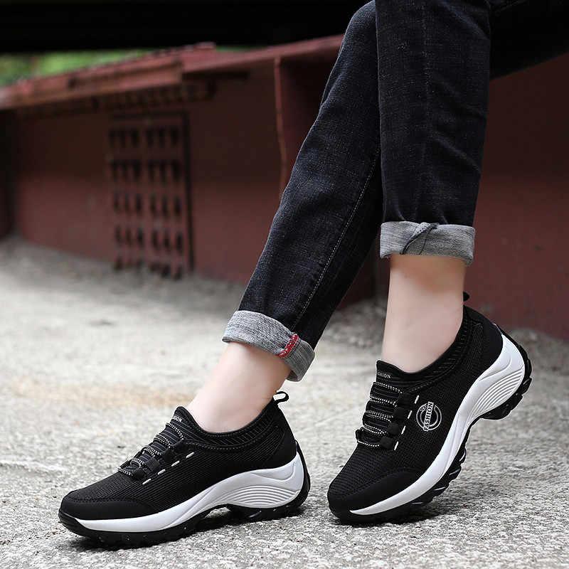 PINSEN 2020 kadınlar düz platformu Sneakers nefes örgü rahat ayakkabılar kadın spor ayakkabı rahat bayanlar yürüyüş bot ayakkabı
