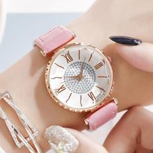 Wrist Watches For Women Simple Crystal Dial Pink Leather Watch Ladies Luxury Quartz Clock Diamond Starry Sky Watch montre femme best deal quartz watch women fashion tower pattern diamond dial watches men faux leather watch women s dress clock montre relo