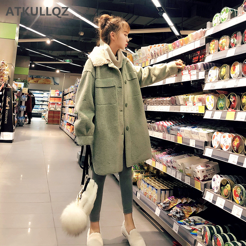 Avocado Green Woolen Lamb Fur Coat Female Autumn And Winter 2019 New Imitation Velvet Long Section Loose Lapel Thick Woolen Coat