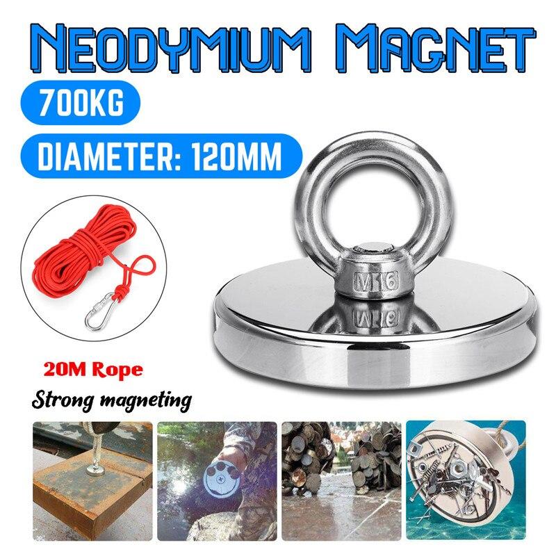 Max 700KG aimant fort néodyme aimant rond épais boulon à œil chasse au trésor aimants aimant de pêche magnétique Permanent le plus fort