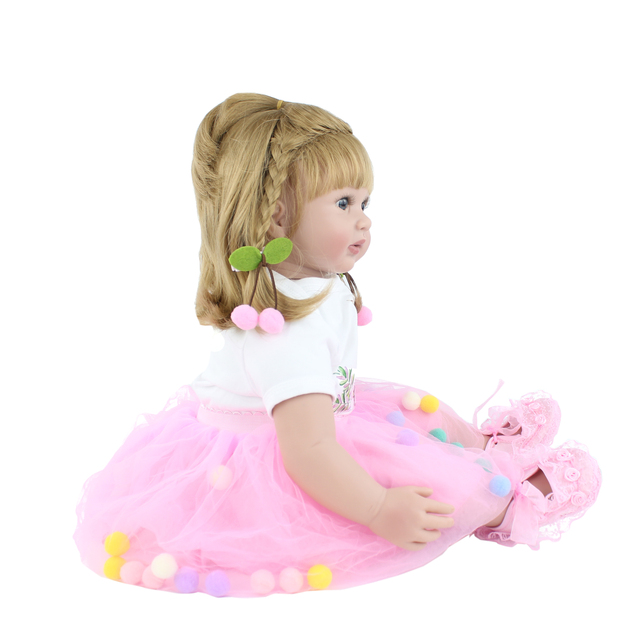 60cm Silicone Reborn Babies Doll Toys For Girl Pink Dress Blonde Princess Toddler Bebe Dress Up