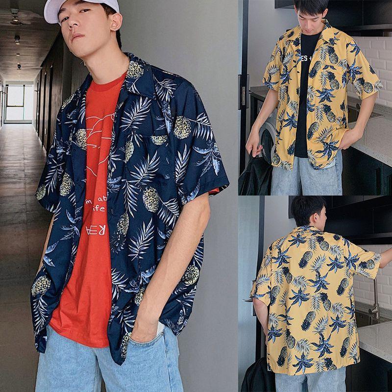 2019 Men Fashion Brand Summer Shirts Leaves Flower Pineapple Print Loose Short Sleeve Shirt Male Hawaiian Style Beach Shirt