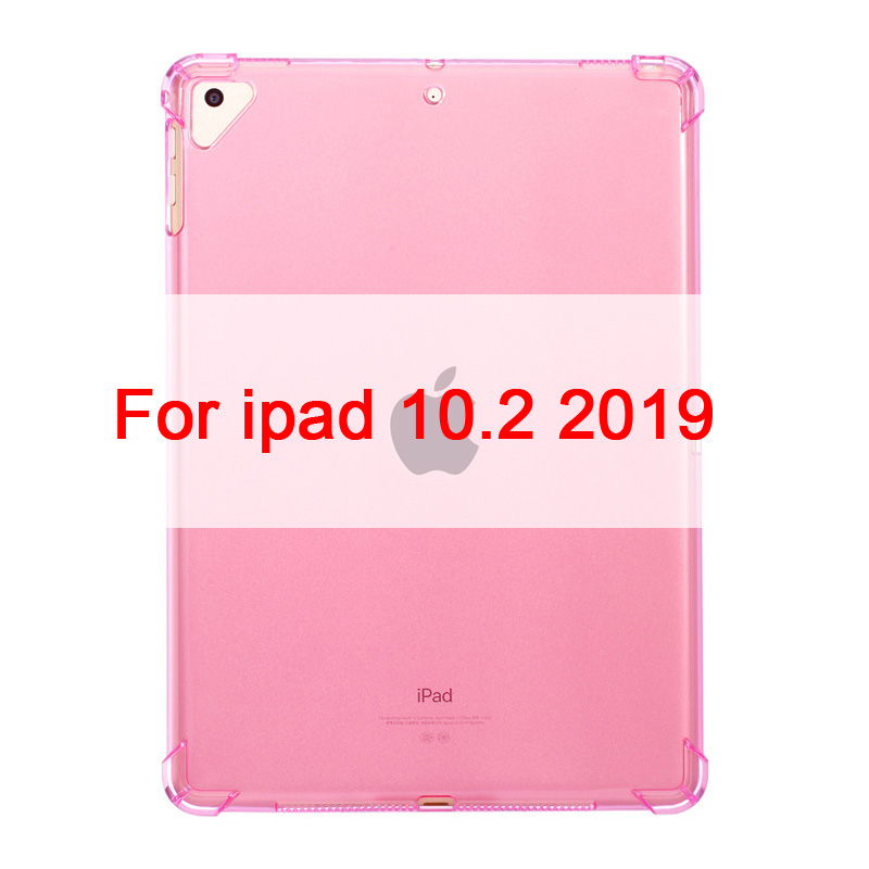 For ipad 10.2 inch Pink Case For iPad 10 2 2019 Clear Silicone With airbag Back Cover For iPad 7th Generation