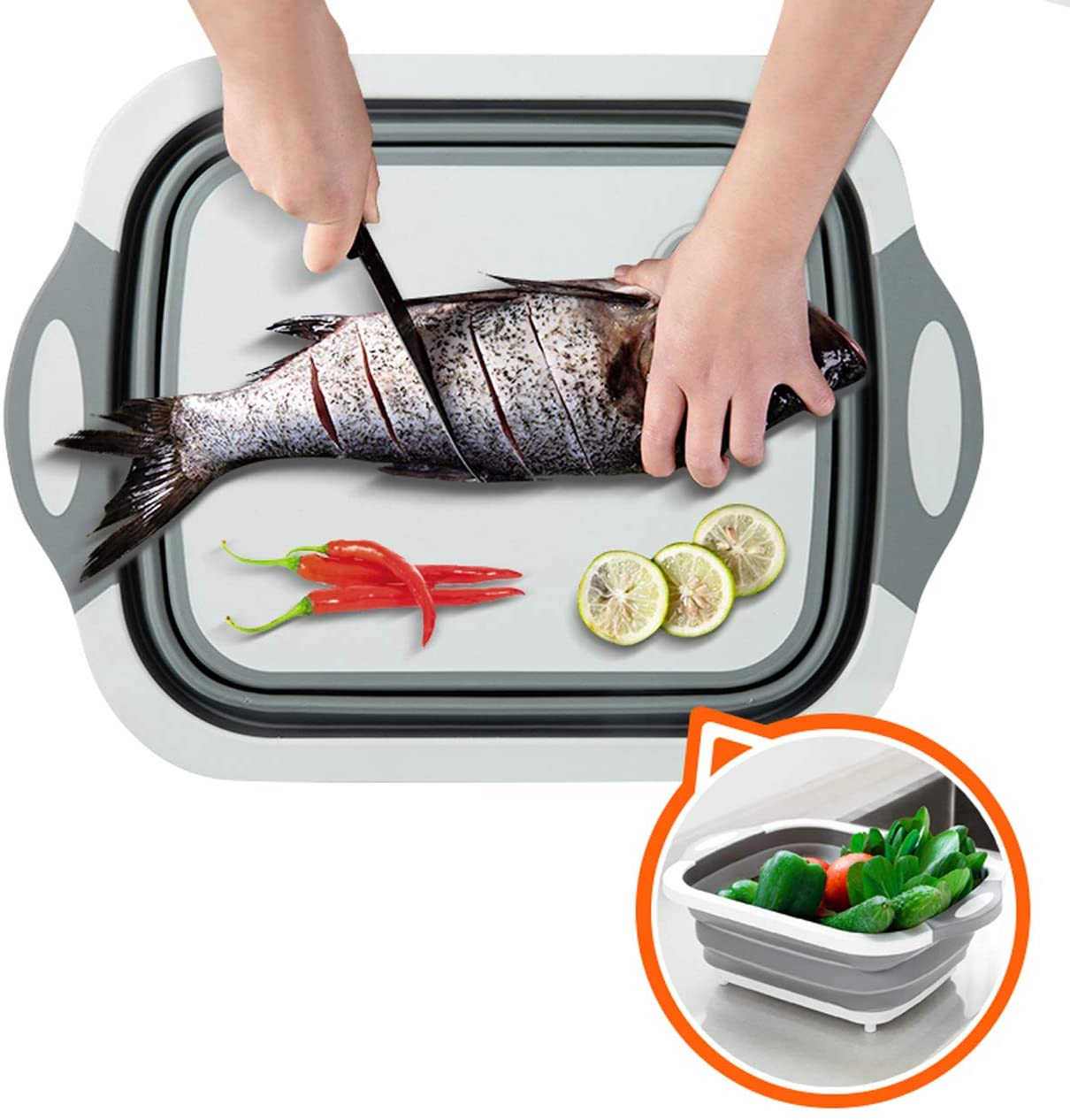 Multifunction Collapsible Cutting Board Dish Tub Drain Basket Two ...
