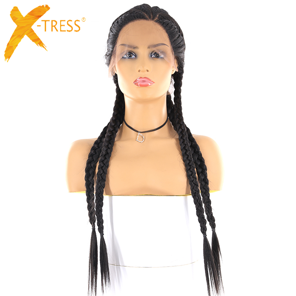 Cornrow Braids Synthetic Lace Front Wigs Senegalese Three Part Long Straight Ear To Ear Braided Lace Wig With Baby Hair X-TRESS