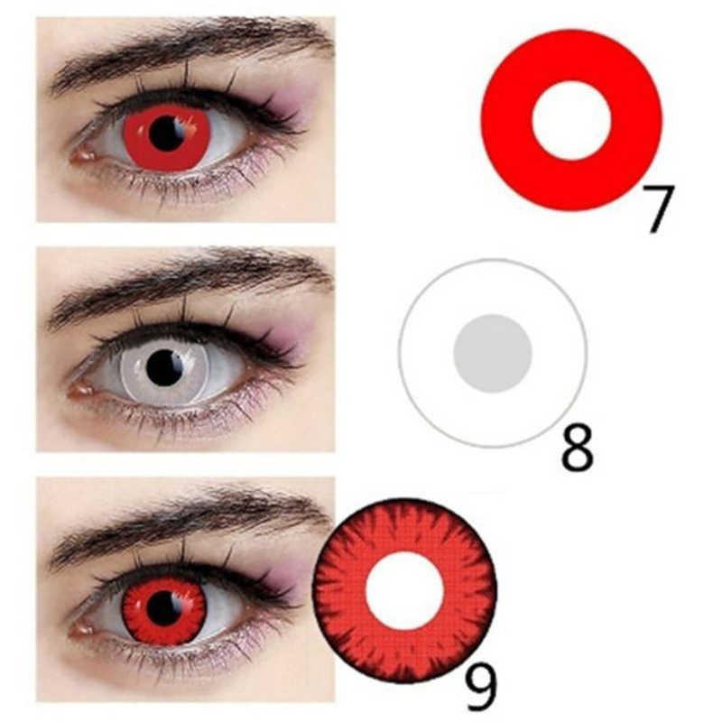 1 para = 2 szt. Cosplay kolorowe szkła kontaktowe na Halloween mężczyźni i kobiety postać z kreskówki oczy piękny uczeń kosmetyczny element ubioru