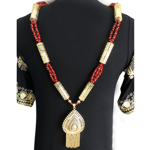 Image 4 - Sunspicems Gold Color Algerian Caftan Body Chain Necklace for Women Bust Accessory Ethnic Wedding Long Bead Jewelry Bridal Gift