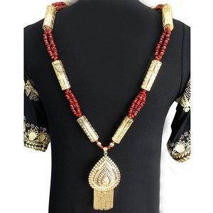 Image 4 - Sunspicems ouro cor argelino caftan corpo corrente colar para as mulheres busto acessório étnico casamento longo grânulo jóias presente de noiva