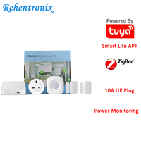 Tuya ZigBee Smart Home Monitoring Kit with PIR Motion Detector Door Sensor 10A UK Type Power Energy Plug