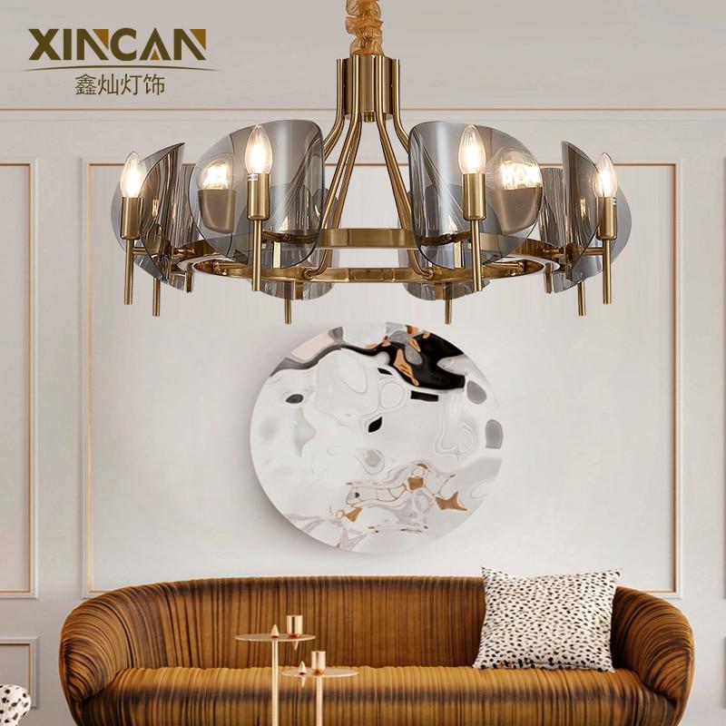 Fashion Crystal Chandelier Light Luxury Living Room Lamp American Lighting Restaurant Post Modern Simple Net Red Creative