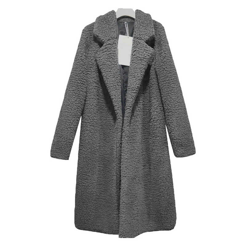 Autumn Perempuan Lambang Tipis Mode Padat Plus Size Wool Blend Putih Long Coat 3XL Vintage Turn Down Collar streetwear Coats