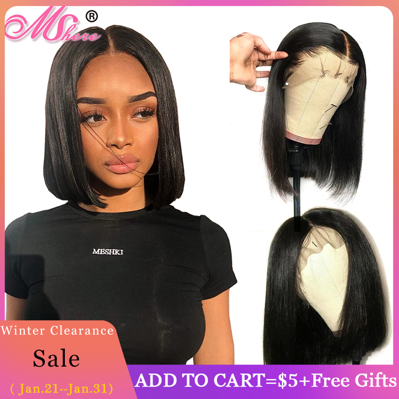 Brazilian Straight Short Bob Wig Glueless Lace Front Human Hair Wigs For Black Women Pre Plucked With Baby Hair Remy Hair