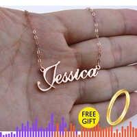 Rose Gold Cor Prata Cursive Personalizado Nome Colar de Pingente Personalizado Placa de Identificação Colar Handmade do Presente de Aniversário