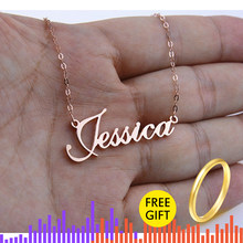 Rose Gold Silver Color Personalized Custom Name Pendant Necklace Customized Cursive Nameplate Necklace Handmade Birthday Gift(China)